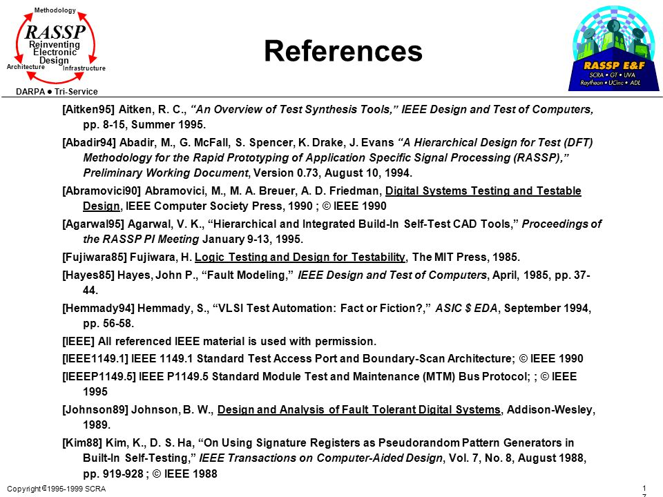 References [Aitken95] Aitken, R. C., An Overview of Test Synthesis Tools, IEEE Design and Test of Computers, pp. 8-15, Summer 1995.